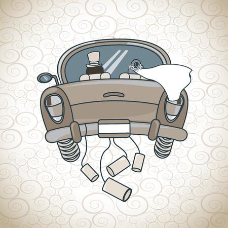 net getrouwd auto over patroon achtergrond vector illustratie