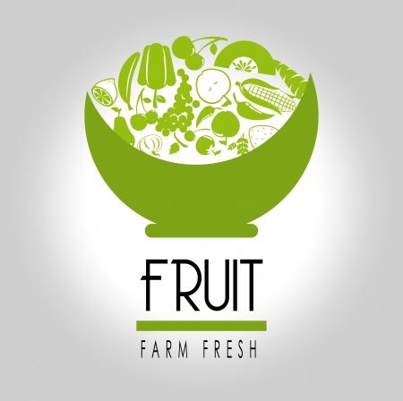 salads: fruit label over gray  background vector illustration