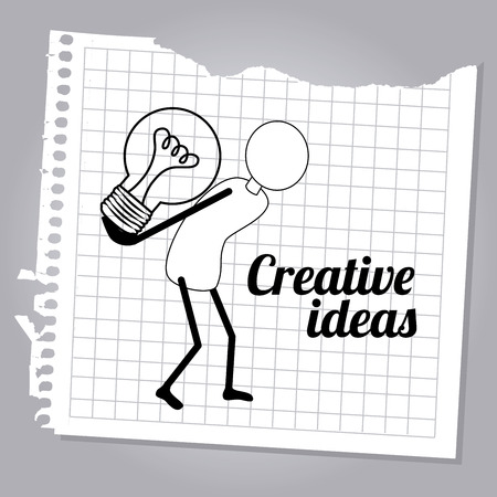 skulp: creative ideas design over gray   background vector illustration