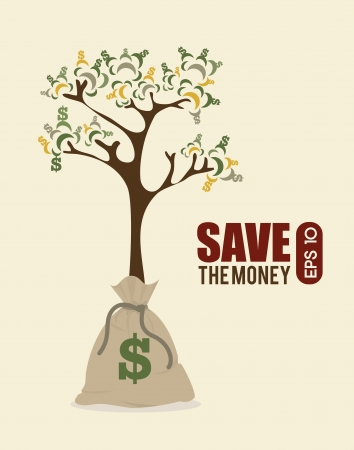 save the money design over pink background vector illustration Stock Vector - 23998724