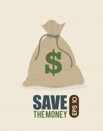 bag of money: save the money design over  background vector illustration