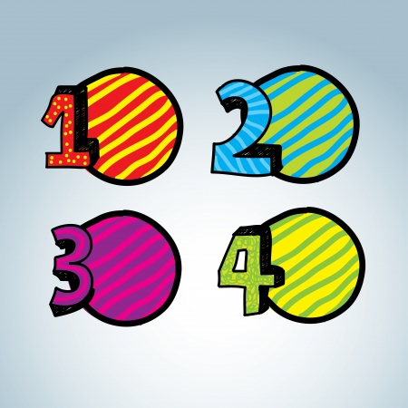 Numbers Icons over gray   background. Vector Illustration Illustration