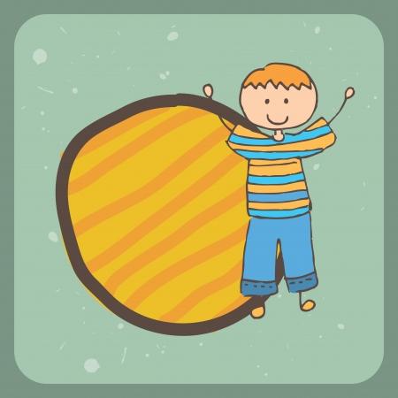camaraderie: kid design over blue background  vector illustration Illustration