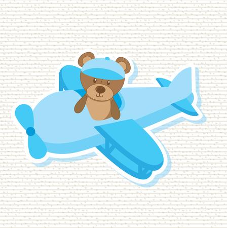 avion caricatura: dise�o de la ducha de beb� sobre fondo blanco ilustraci�n vectorial