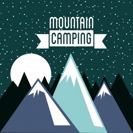 schneelandschaft: Camping-Design �ber Himmel Hintergrund Vektor-Illustration