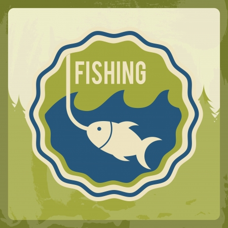 distraction: fishing  design over cream  background vector illustration