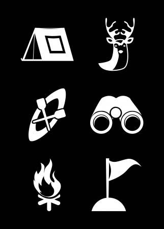 camping design over black background vector illustration Vector