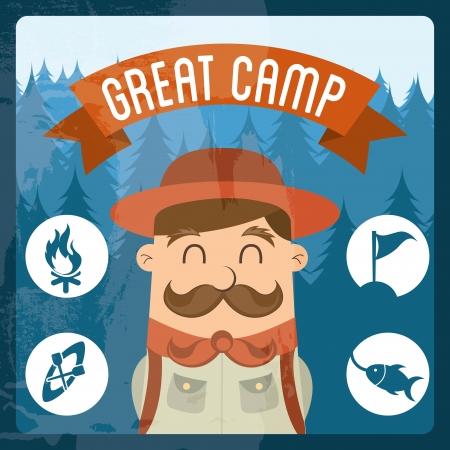 camping design over blue background vector illustration  Vector
