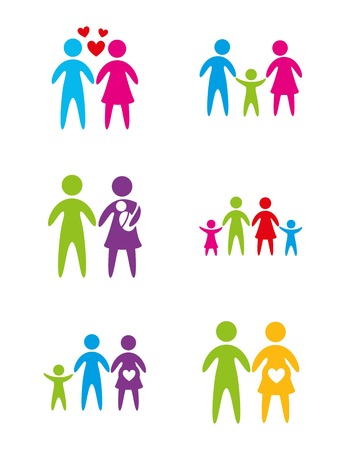 family together: Different family over white background vector illustration
