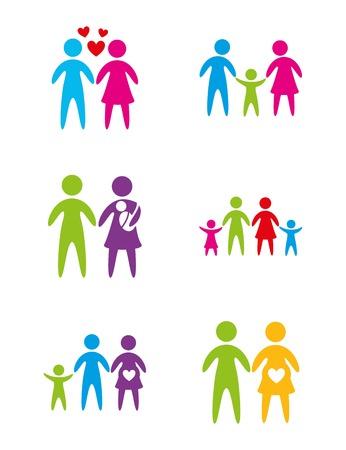 Different family over white background vector illustration