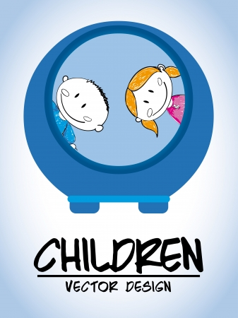 children design over blue background vector illustration  Vector