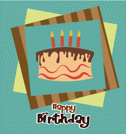 birthday cake design over dotted background vector illustration  Vector