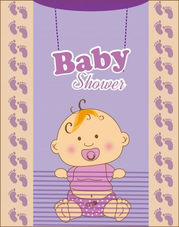 baby shower design over purple  background vector illustration   Vector