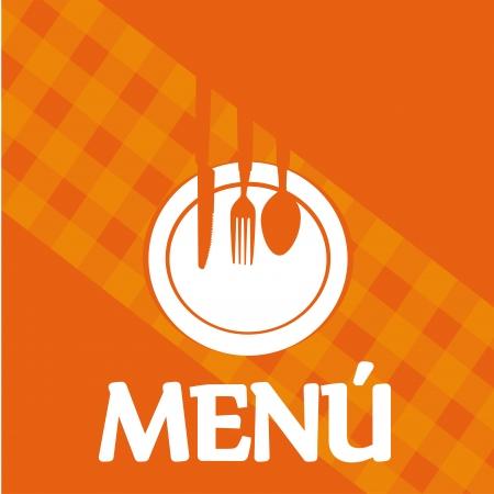 menu label over orange background vector illustration   Vector
