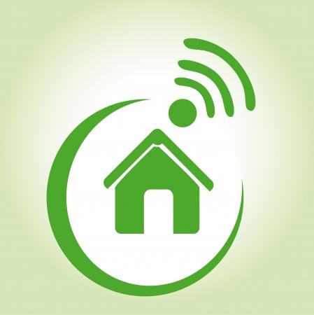 smart home: internet icons over green background vector illustration