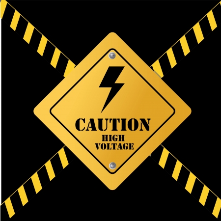 high voltage over black background vector illustration Stock Vector - 23999474