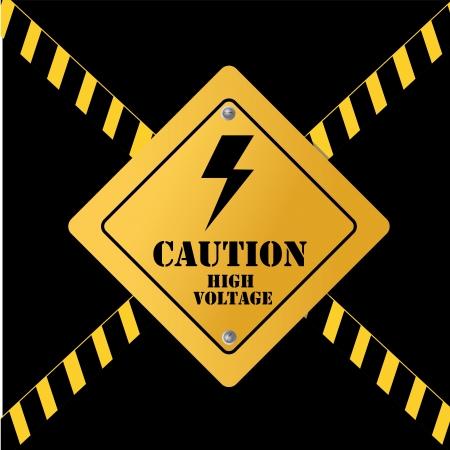 symbol vigilance: high voltage over black background vector illustration  Illustration