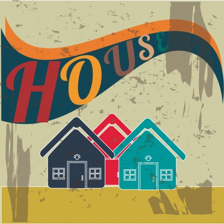 house design  over rustic background vector illustration  Vector