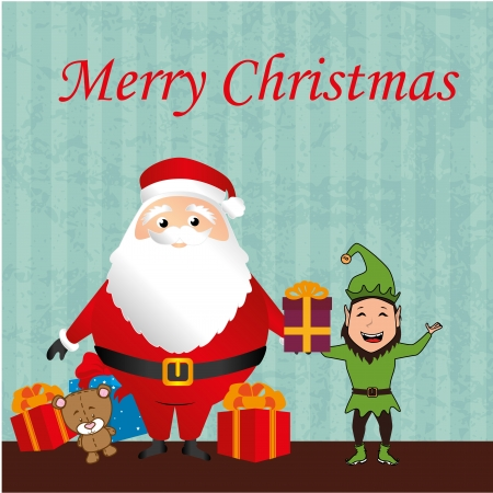 Merry Christmas card over blue background vector illustration Vector