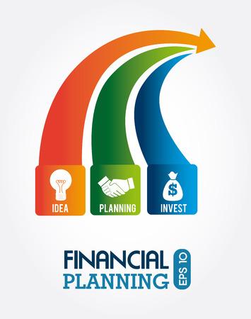 financial planning illustration over white background. vector illustration Vetores