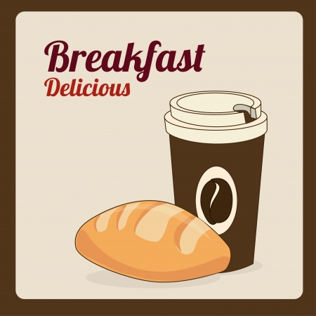 breakfast design over pink background vector illustration Stock Vector - 23999553