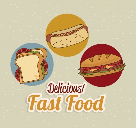 fast food over dotted background vector illustration     Vector