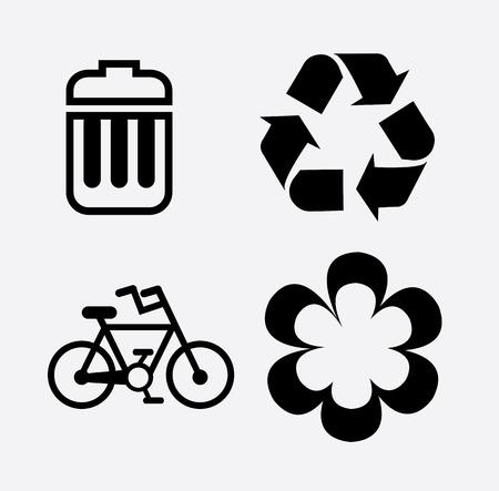 eco flowers basket: eco design over  white background vector illustration
