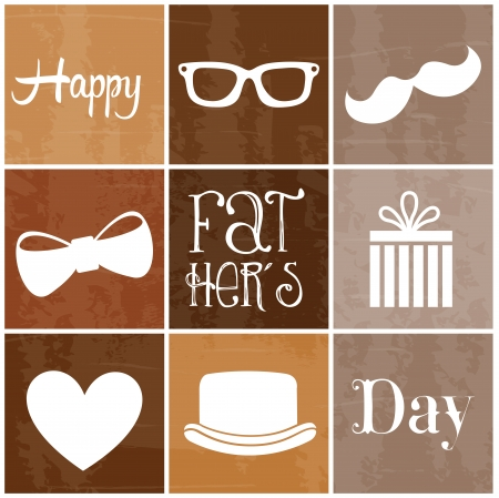 happy fathers day over brown  background vector illustration Vector