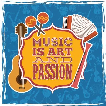 musical design over blue background vector illustration Illustration