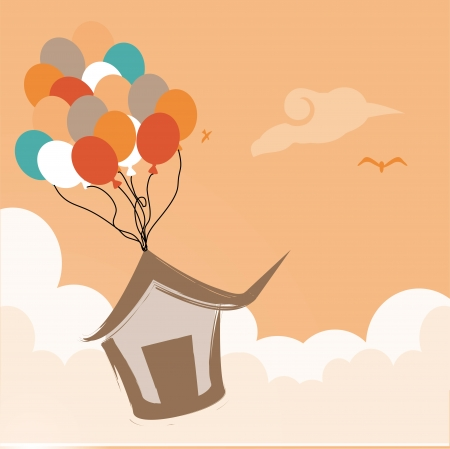 cute air balloons over pink background. vector illustration Vector