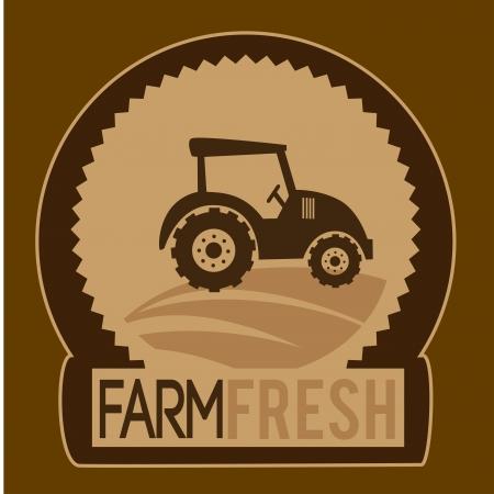 tire cover: farm fresh label over brown background vector illustration Illustration