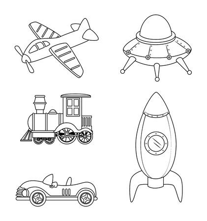 Kinderspielzeug auf weißem Hintergrund Vektor-Illustration