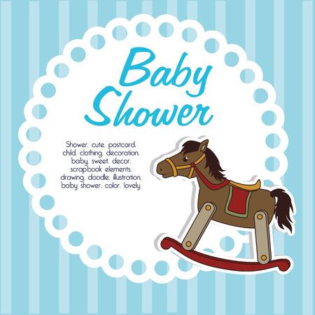 baby shower over blue background vector illustration  Vector