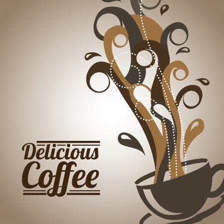 time frame: coffee design over bronze background vector illustration