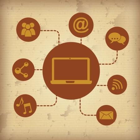tele communication: social media over vintage background vector illustration