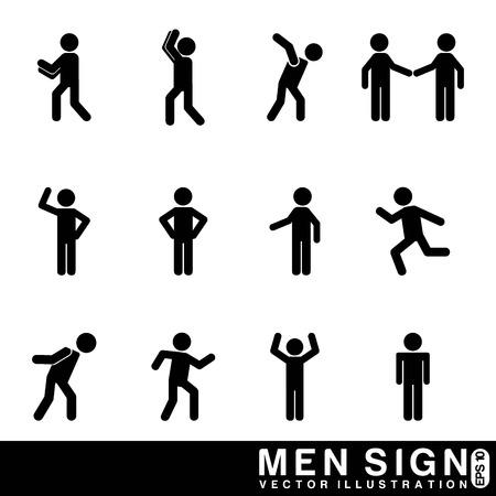 人々: 男性の白い背景のベクトル図に署名します。