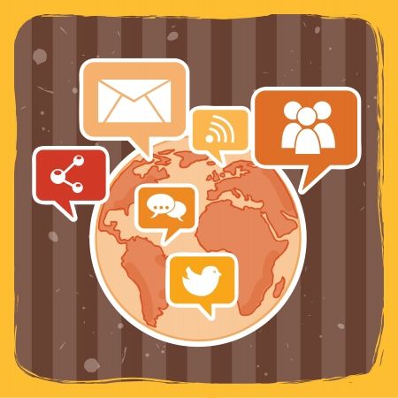 tele: social network over yellow background vector illustration