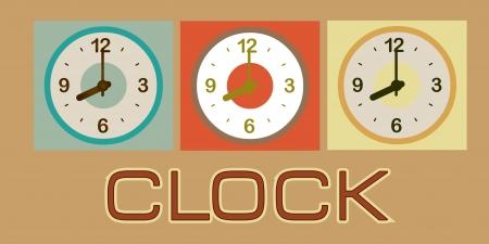 establish: clock  design  over brown background vector illustration
