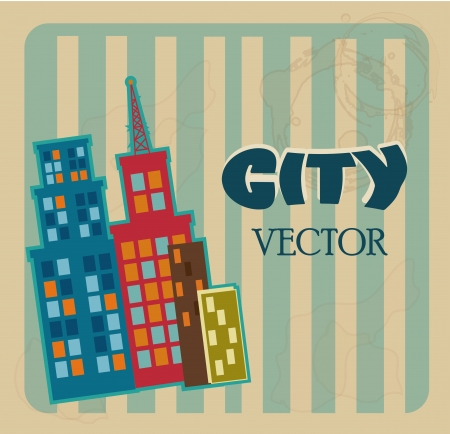 window seal: city design over lineal background vector illustration