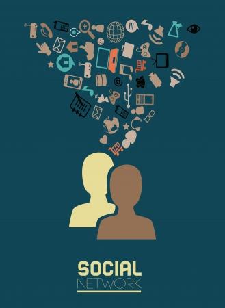 tele communication: social network over  blue background vector illustration