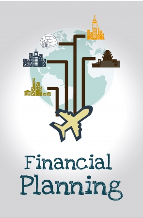 financial planning illustration over gray  background. vector illustration  Vector