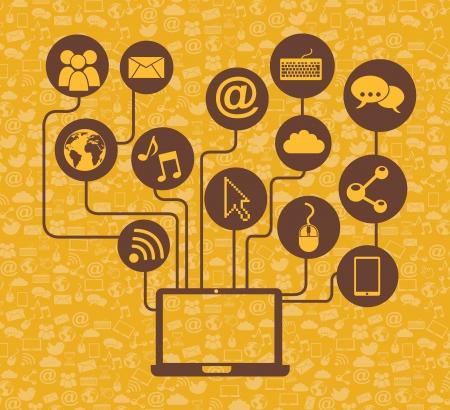 tele: social media over yellow background vector illustration  Illustration