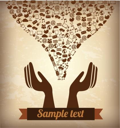 tele communication: social media over  background vector illustration