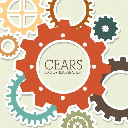 consept: gears design over beige  background vector illustration