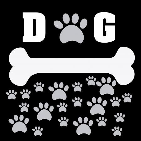hueso de perro: mascotas desig sobre fondo negro ilustraci�n vectorial Vectores
