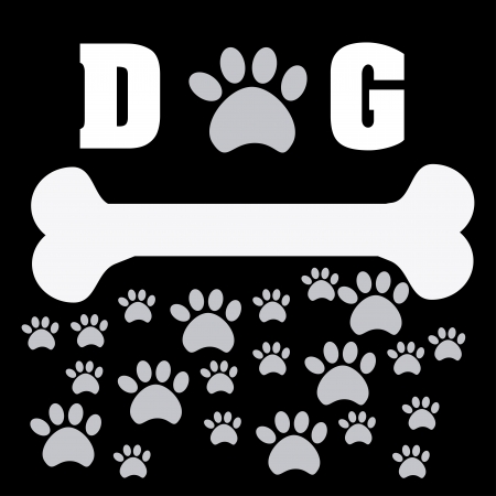 dog bone: pet desig over black background vector illustration
