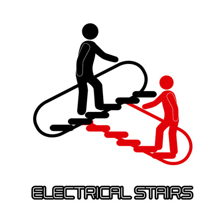 electrical stairs with people over white background Vector
