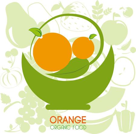 drinkseal: orange citrus fruit  over pattern orange  background vector illustration