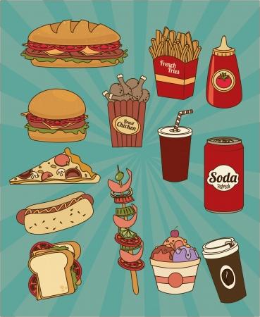 fast food design over blue background vector illustration