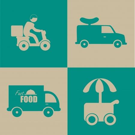 camion caricatura: diseño de la comida rápida sobre fondo azul y gris ilustración vectorial